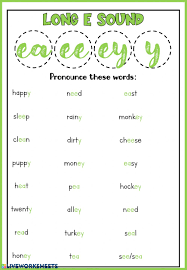 250 free phonics worksheets covering all 44 sounds, reading, spelling, sight words and sentences! Phonics Long E Sound Worksheet