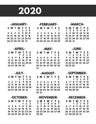 2020 Printable One Page Year At A Glance Calendar Paper