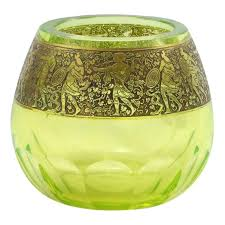 art deco uranium glass vase with gold frieze by moser for