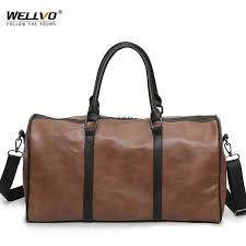 pu leather travel bag large duffel round tote women mens gymnastic bags for male handbags female