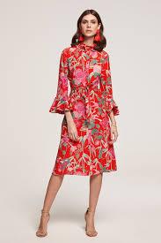 Beulah Designer Beulah London Maia Shirt Dress Red Oriental Print Dresses