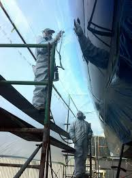 hull and deck painting spar painting small parts sprayed gelcoat color matching non skid deck painting