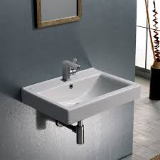 bathroom sink cerastyle 064200 u rectangular white ceramic wall mounted or drop in
