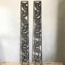 wrought iron oak and acorn panels pair