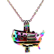 details about c449 rainbow multi color american flag beads cage locket pendant charms