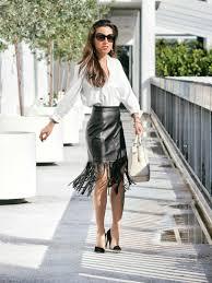 miami blogger faux leather fringe skirt