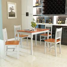 5 piece dining table set 4 chairs solid wood home kitchen breakfast furniture