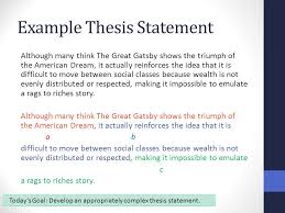 synthesis essay thesis statements benchmark ppt video online  6 example thesis statement although many think the great gatsby shows the triumph of the american dream