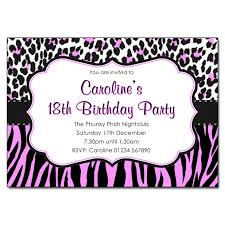 Animal Print Pink Black Party Invitations