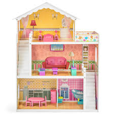 Kids Large Wooden Dollhouse w/ 17 Pieces of Furniture
