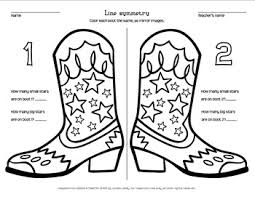 Cowboy Boot Line Symmetry Coloring Page By Loreen Leedy Tpt