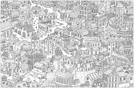 Small Picture Complex city Architecture and Living Coloring pages for adults