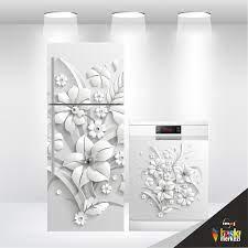Buzdolabı Ve Bulaşık Makinesi Kapak Folyo Kaplama 3D Çiçek - Lazımbana'da