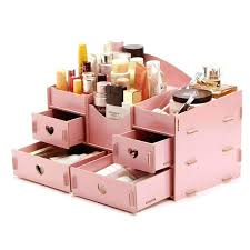 wooden makeup organizer cosmetics storage wood with drawers