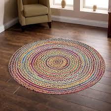 details about indian braided floor rug boho jute cotton rug round floor mat rugs