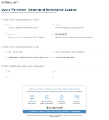 Math Symbols Meanings Quiz Worksheet Meanings Of Mathematical Symbols Study Com