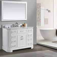 Eviva Glory 48 White Bathroom Vanity With Carrara Marble Counter Top And Porcelain Sink Bathroom Vanities Modern Vanities Wholesale Vanities