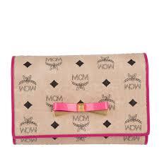 Mcm Patricia Visetos 3 Fold Small Wallet Cognac Women Mcm Beats