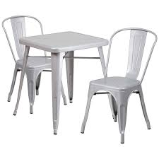 23 75 square silver metal indoor outdoor table set with 2 stack chairs