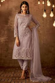 Images Of Designer Party Wear Salwar Kameez Lavender Embroidered Net Fabric Designer Party Wear Designer Suit