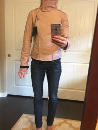 j crew denim jacket review mackage hania moto leather jacket cognac and pink