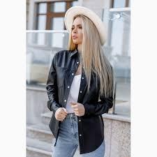 stylish faux leather shirt black