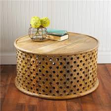 tribal carved wood coffee table