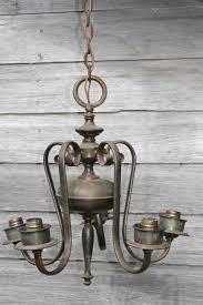 vintage solid brass chandelier w tarnished patina old five lamp hanging light for restoration