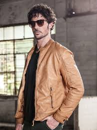 men leather jacket light tan windproof jacket stand collar long sleeve front zip motorcycle jacket