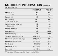 marmite nutrition information