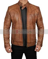 mens brown distressed leather jacket