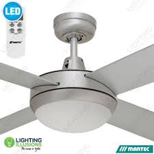 brushed aluminium cool white martec lifestyle 52 ceiling fan with 12w dimmable led light lcd remote lighting illusions