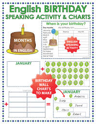 English Speaking Chart English Months Birthday Speaking Activity And Charts