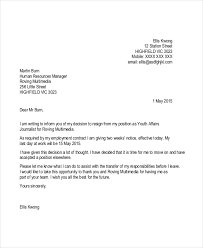 written two weeks notice contractor resignation letter template 4 free word pdf format