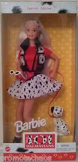 101 dalmatians barbie walt disney mattel puppy dog black red white sungles nr