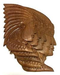 red indian wooden wall panel carved