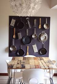 Kitchen Wall Hanging White Pegboard Mounted In Kitchen Wall With Hooks And Cutting