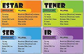 Spanish Ser Chart Amazon Com Set Of 4 Verb Charts Spanish Industrial