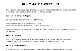 Roommate Agreement Contracts Free Roommate Agreement In Word And Pdf Landlordo Com