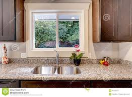 Kitchen Cabinet For Sink Kitchen Cabinet With Sink And Window View Stock Photo Image