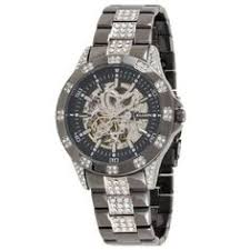 mens 21 jewel automatic watch square face and peek hole on elgin mens automatic skeleton crystal watch