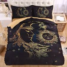 whole lightweight boho sun moon and stars 3d bedding set duvet cover set twin queen king beautiful pattern real effect bedding and curtain sets bedding