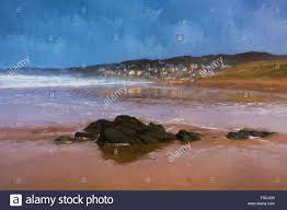 woolacombe beach devon england ilration like oil painting with sand and sea