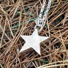 chunky star pendant in sterling silver on diamond cut silver necklace