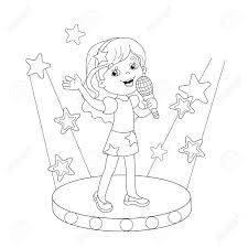 Coloring Page Outline Of Cartoon Girl Singing A Song On Stage