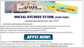 Jobs Postings Caribbean Social Studies Tutor Part Time In