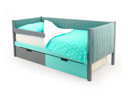 Детская <b>кровать</b>-<b>тахта</b> мягкая <b>Бельмарко</b> «<b>Skogen</b> графит-<b>мятный</b>
