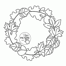 Small Picture Fall Leaves Wreath coloring pages for kids autumn leaves
