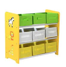 kids toys storage unit with 9 colourful boxes