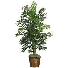 Tropical Artificial Silk Palm Tree in Pot Basket Areca Plant Indoor Home  Decor
